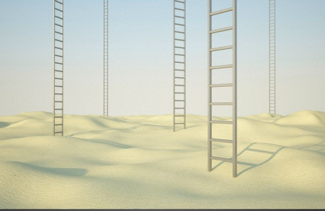 Several ladders in a desert